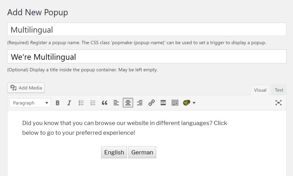 Multilingual popup