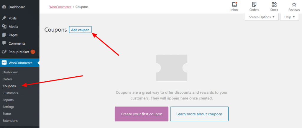 """The """"Coupons"""" page within the """"WooCommerce"""" menu with an arrow pointing to the """"Add coupon"""" button."""
