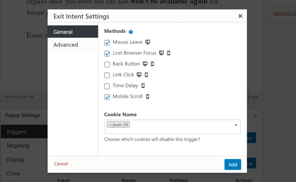 """The exit intent settings for our trigger with """"Mouse Leave,"""" """"Lost Browser Focus,"""" and """"Mobile Scroll"""" selected."""