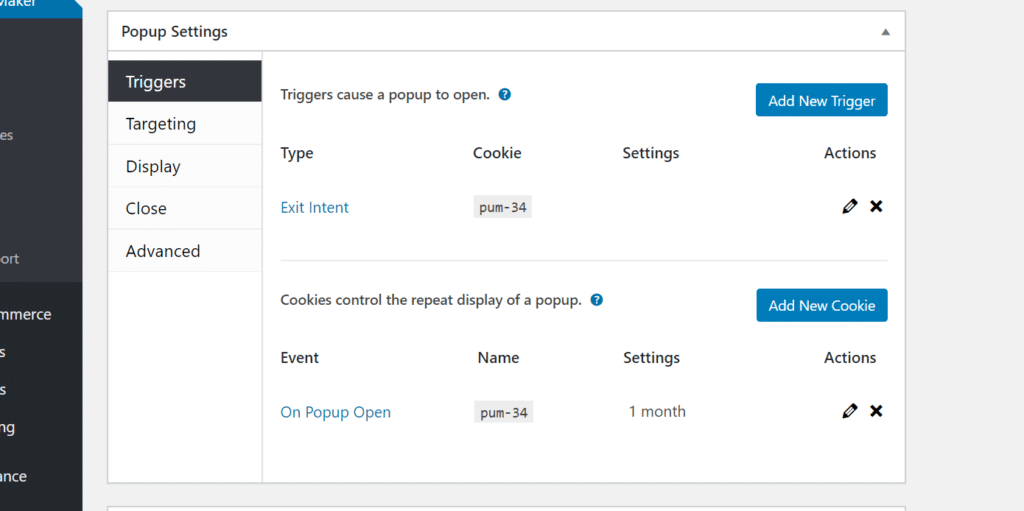The Triggers tab with an exit-intent trigger and a on popup close cookie listed.