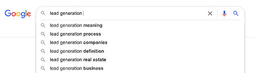 Screen capture of a Google Search suggestions