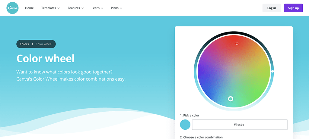 Screen capture of Canva's color wheel page