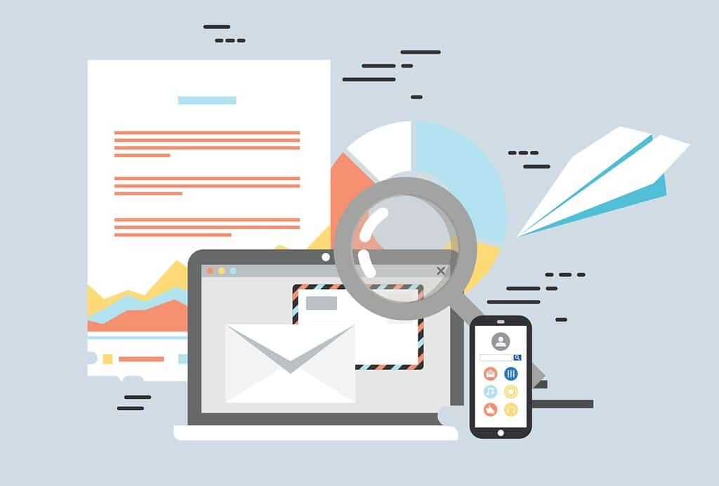Illustration graphic of a laptop, mobile phone, and emails