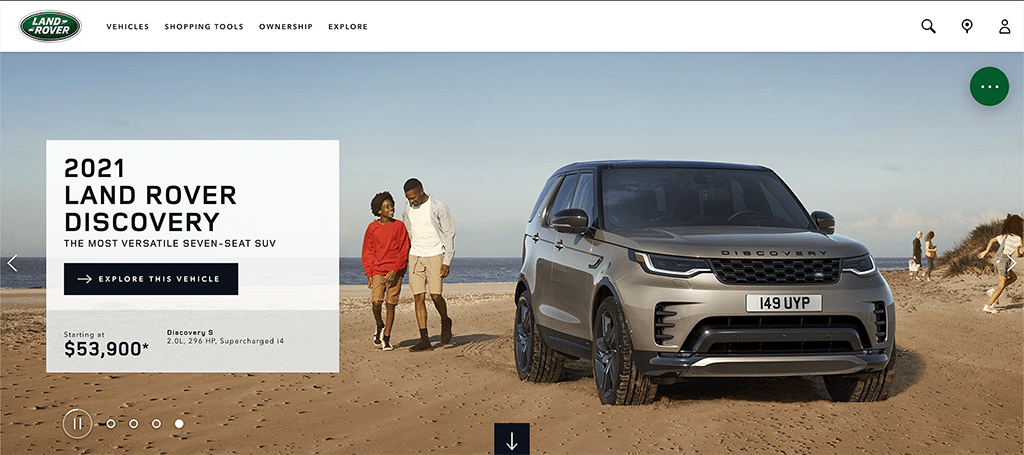 Screen capture of the Land Rover homepage