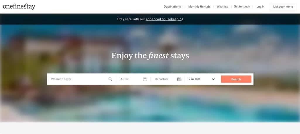 Screen capture OneFineStay homepage