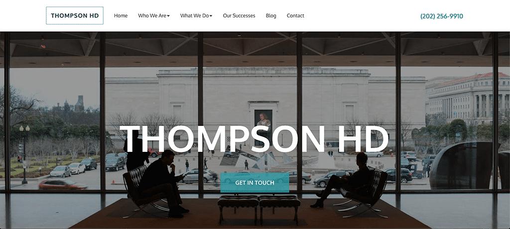 Screen capture of Thompson HD homepage