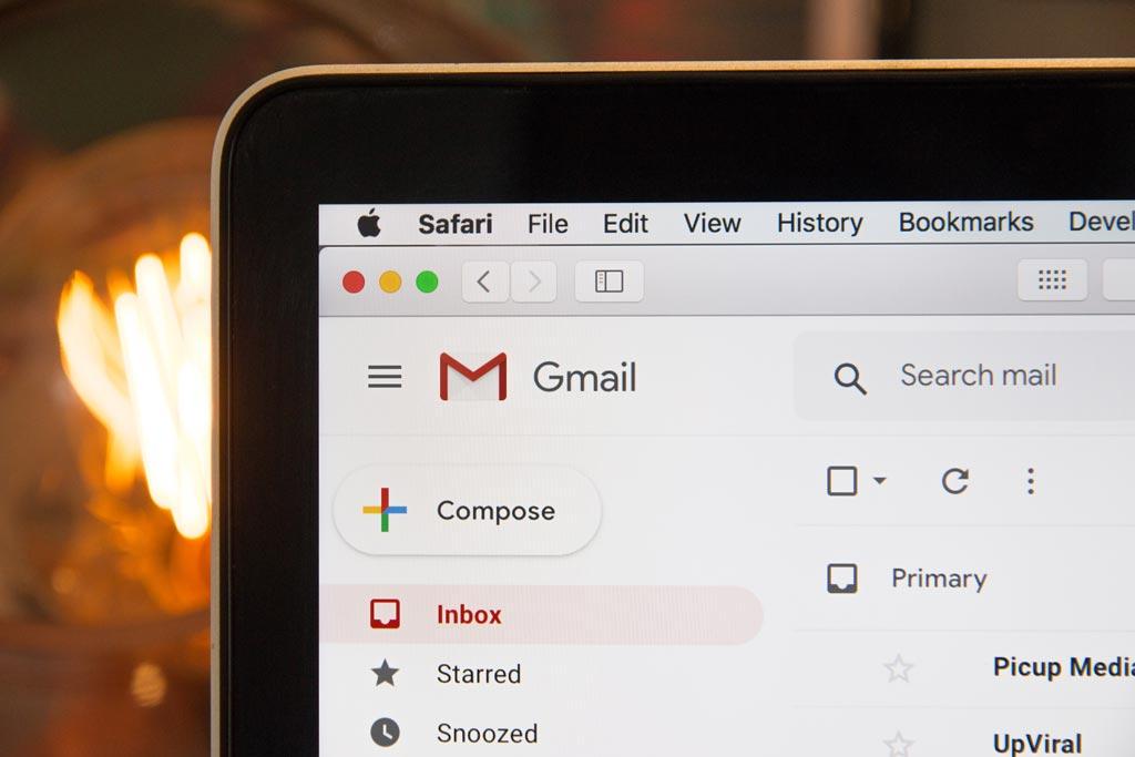 Closeup of an email inbox